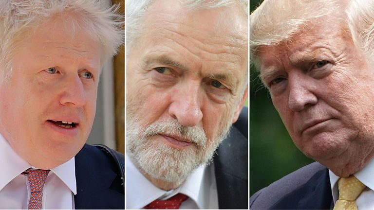Boris Johnson, Jeremy Corbyn and Donald Trump