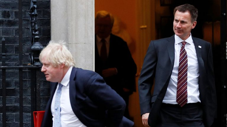 Foreign Secretary Boris Johnson and Health Secretary Jeremy Hunt leave 10 Downing Street