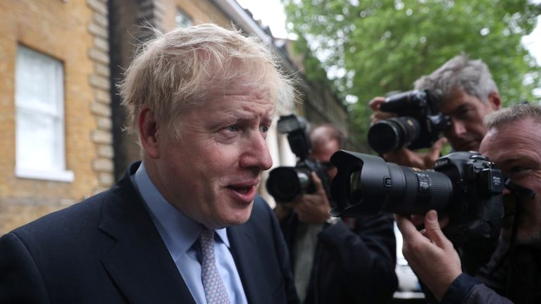 Conservative Party leadership candidate Boris Johnson leaves his home in London