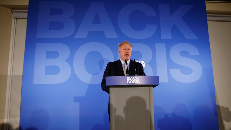 Conservative Party leadership candidate Boris Johnson speaks during the launch of his campaign in London