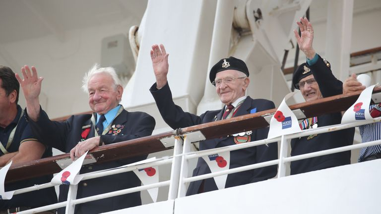 The MV Boudicca with D-Day veterans onboard arrives into Poole in Dorset.