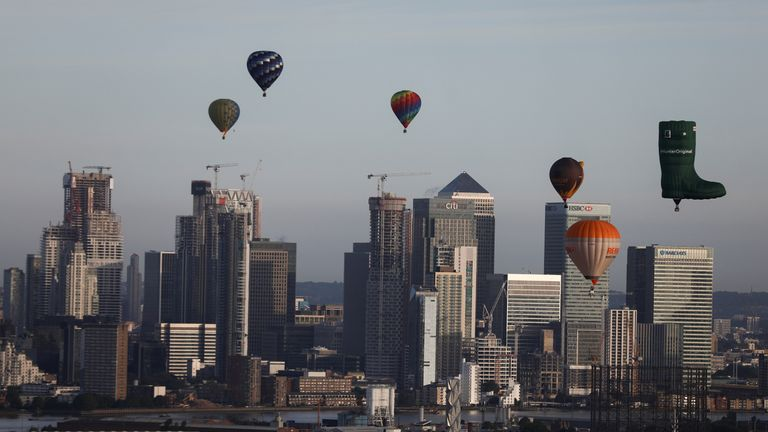 Hot air balloons could be seen dotted across the skyline in Canary Wharf