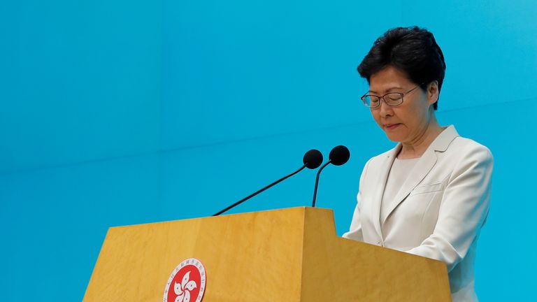 Hong Kong Chief Executive Carrie Lam attends a news conference in Hong Kon