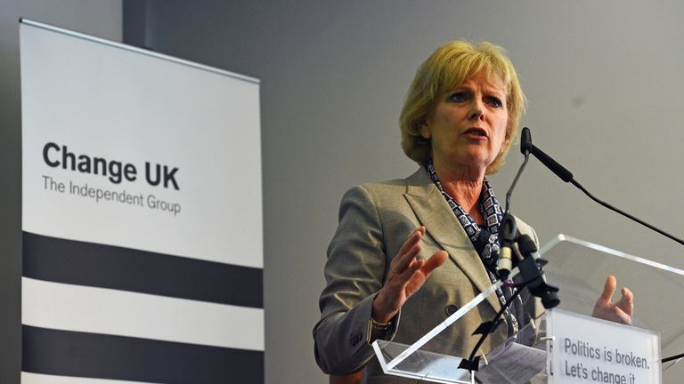 Anna Soubry speaks during a Change UK rally at Church House in Westminster, London.