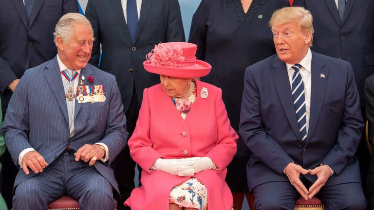 Charles and the Queen appear to share a joke with Donald Trump