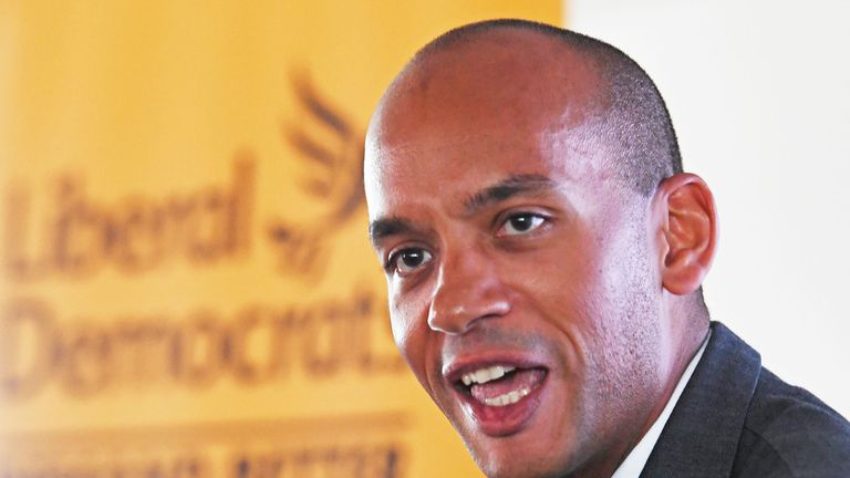 Former Change UK and Labour MP Chuka Umunna at a press conference in Westminster