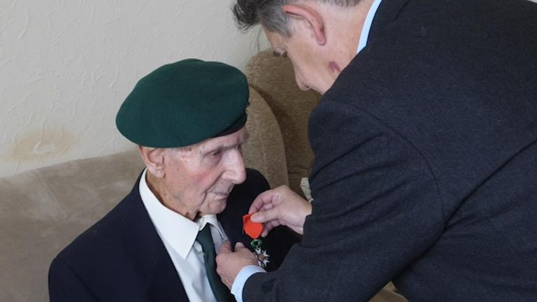 D-Day veteran Clive Pitt is presented with the Legion d'Honneur, the highest French order of merit for military and civil merits