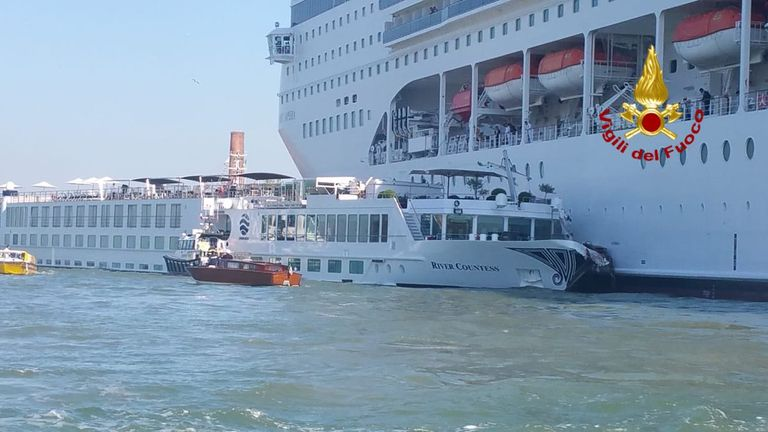 A cruise ship has rammed into a tourist boat in Venice. Pic: Venice Fire Service