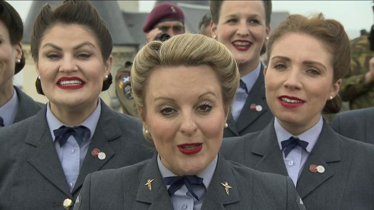 The D-Day Darlings performed in the official parade, and the Britain's Got Talent finalists later sang live on Sky News.
