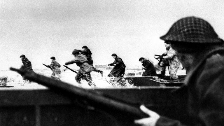 Canadian soldiers land on Courseulles beach in Normandy