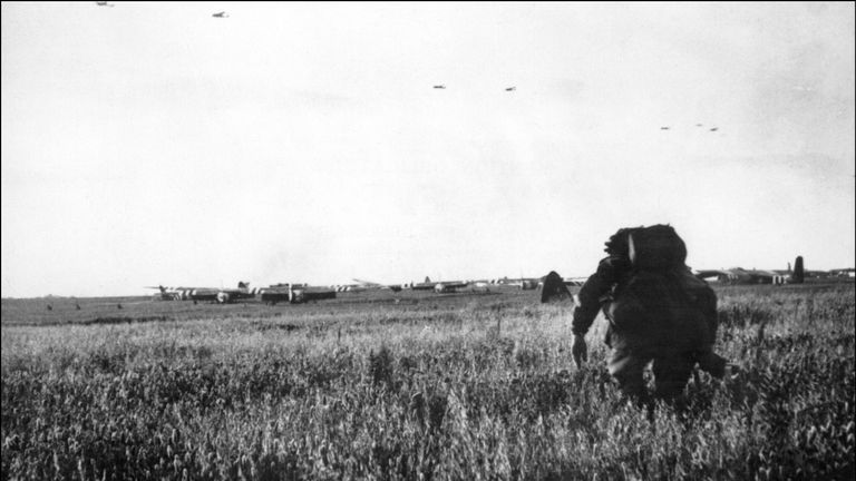 Allied Forces soldiers after they parachuted from the gliders