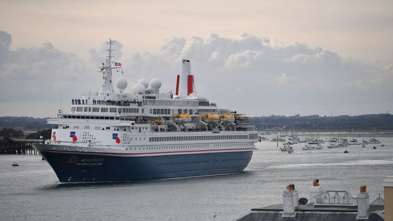 PORTSMOUTH, ENGLAND - JUNE 05: The cruise ship Boudicca chartered by the Royal British Region departs with veterans to retrace the journey they made 75 years ago on June 05, 2019 in Portsmouth, England. The political heads of 16 countries involved in World War II joined Her Majesty, The Queen on the UK south coast for a service to commemorate the 75th anniversary of D-Day. Overnight it was announced that all 16 had signed an historic proclamation of peace to ensure the horrors of the Second Worl