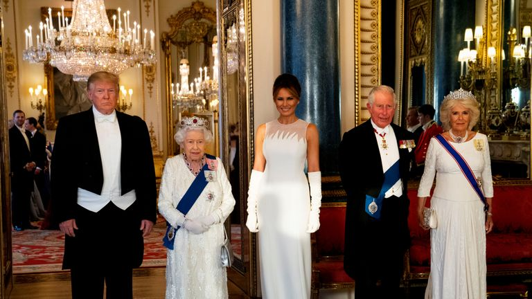 Donald Trump, Melania Trump, Queen Elizabeth, the Prince of Wales and Camilla, Duchess of Cornwall at the State Banquet at Buckingham Palace