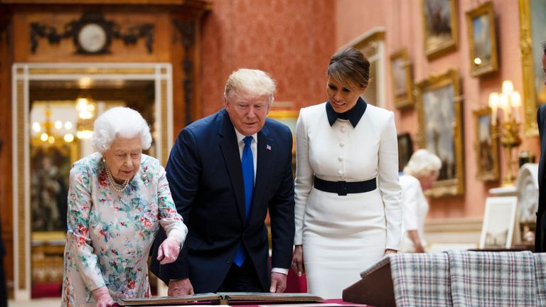 Mr Trump was shown American artefacts at Buckingham Palace