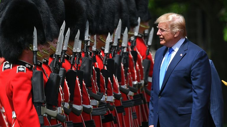 Mr Trump spoke with members of the Grenadier Guards