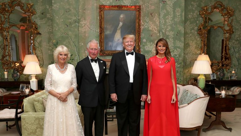 US President Donald Trump and First Lady Melania Trump host a dinner at Winfield House for Prince Charles, Prince of Wales and Camilla, Duchess of Cornwall
