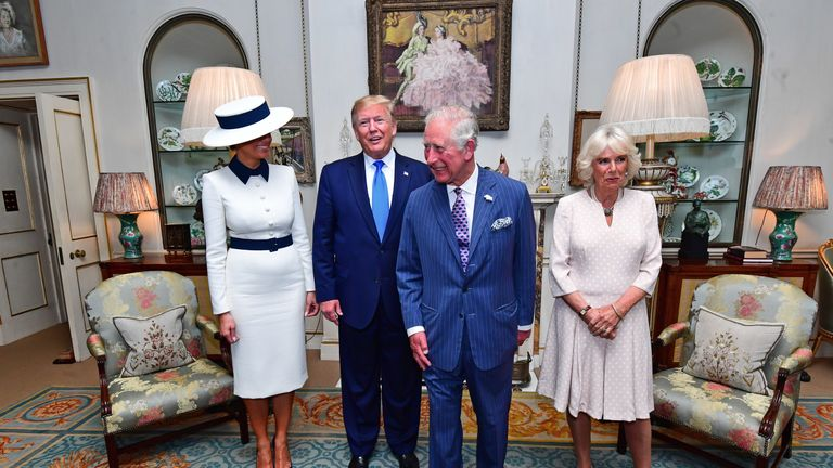 Donald Trump and the Prince of Wales have shared afternoon tea at Clarence House