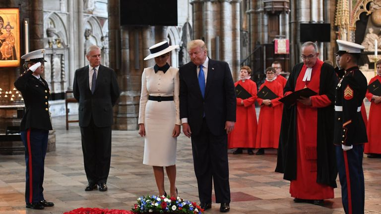 The US leader laid a wreath at Westminster Abbey