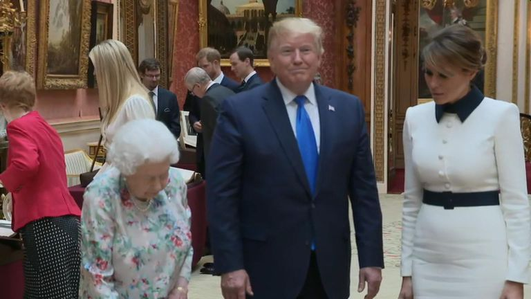 The Queen has shown President Trump and the First Lady American artefacts during a private lunch at Buckingham Palace.