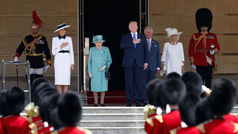 Mr Trump and the Royal Family stood for a rendition of the US national anthem