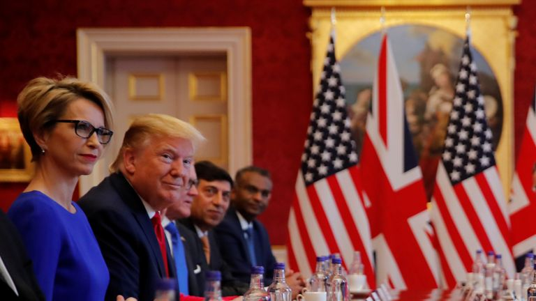 Donald Trump attends a business roundtable discussion at St James's Palace during his state visit in London