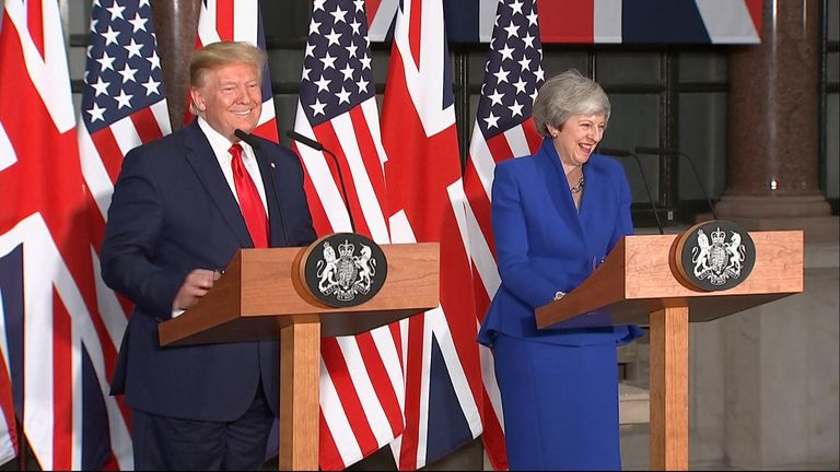 "Responding to a question about various Tory candidates to succeed Theresa May, Donald Trump says he ""knows"" Boris Johnson, ""likes"" him and ""thinks he'd do a good job""."