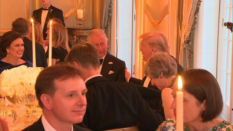 The president hosted a lavish banquet at Winfield House with Prince Charles in attendance.