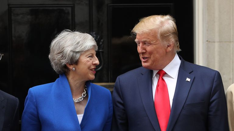 LONDON, ENGLAND - JUNE 04: (L-R) British Prime Minister Theresa May and US President Donald Trump arrive at 10 Downing street for a meeting on the second day of the U.S. President and First Lady's three-day State visit on June 4, 2019 in London, England.