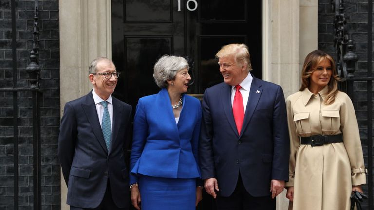 The US leader told Theresa May to 'stick around' before they headed to Downing Street this morning