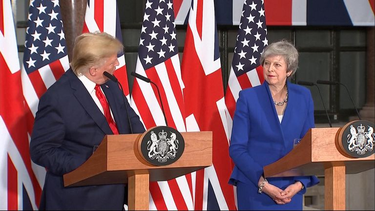 "Donald Trump says it has been a ""true honour"" to deal with Theresa May, adding it has been a ""pleasure working with you""."