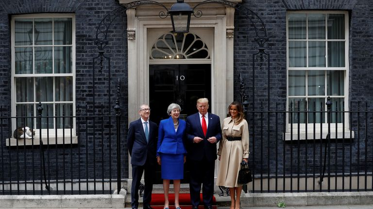 Donald Trump and first lady Melania Trump meet Theresa May and Philip at Downing Street