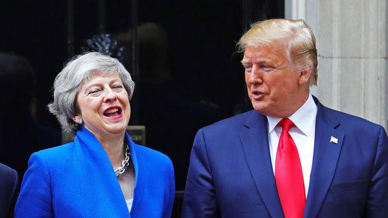 Theresa May welcomes Donald Trump to Downing Street