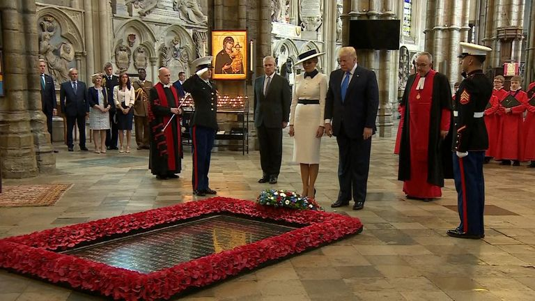 President Trump has placed a wreath on the grave of the Unknown Warrior at Westminster Abbey, ahead of the 75th anniversary of D-Day.