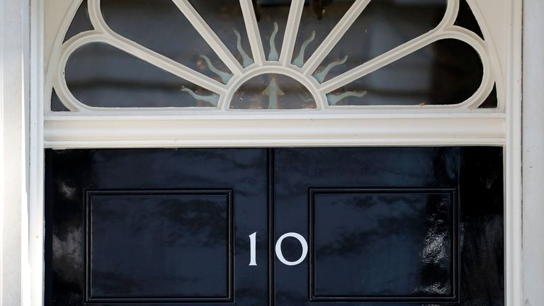 A view of the front door of 10 Downing street in central London on May 24, 2019