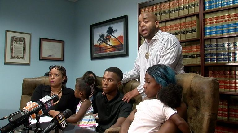 The family is suing the state over the officer's conduct during the incident