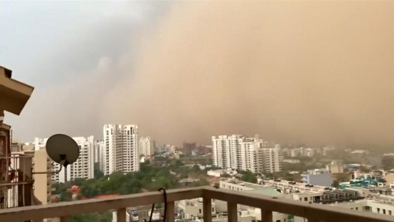 A massive dust storm shrouded India's capital on Wednesday evening, halting flights temporarily, according to local media