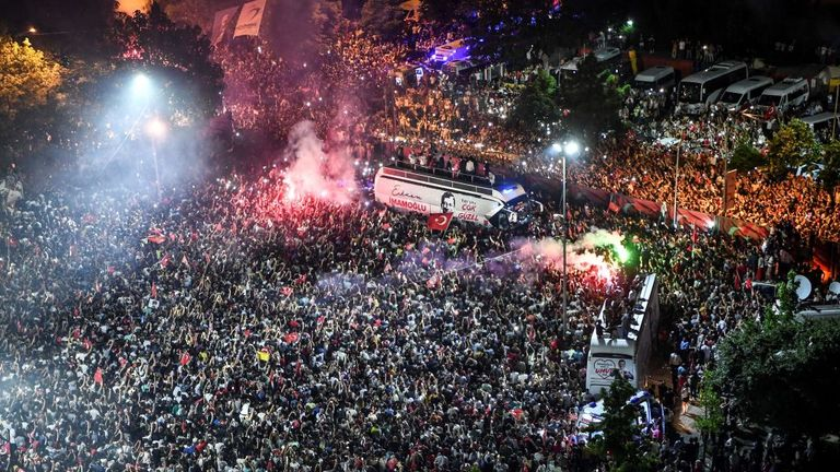 The streets were full of supporters after  Imamoglu's victory in Istanbul