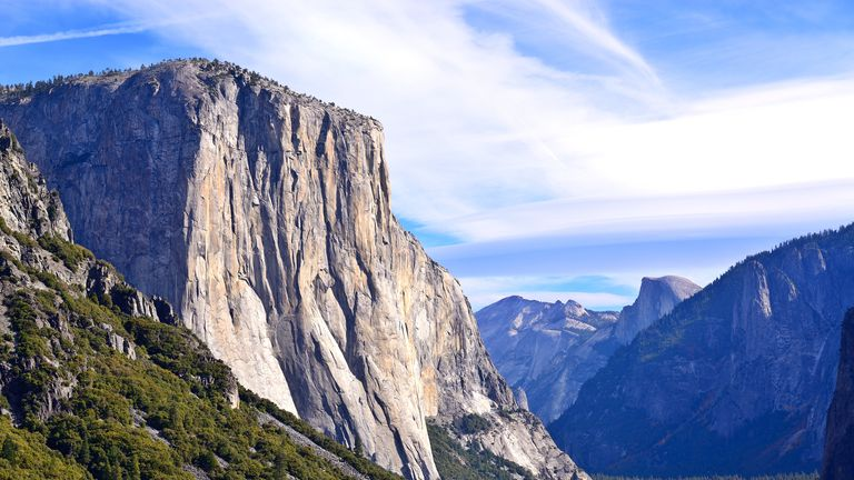 El Capitan is a vertical rock formation in Yosemite National Park