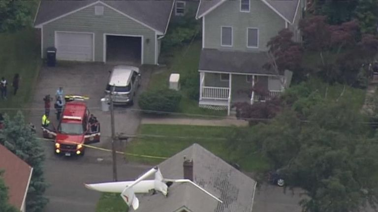 The glider crashed into the roof of a house in the Danbury area of Connecticut