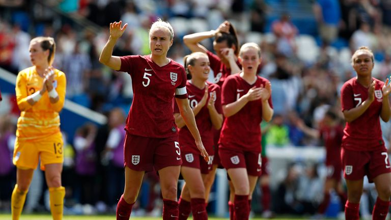 Steph Houghton of England Women waves to the crowd after a game against New Zealand Women