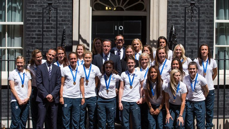 The England team pose with former PM David Cameron outside 10 Downing Street after the 2015 World Cup