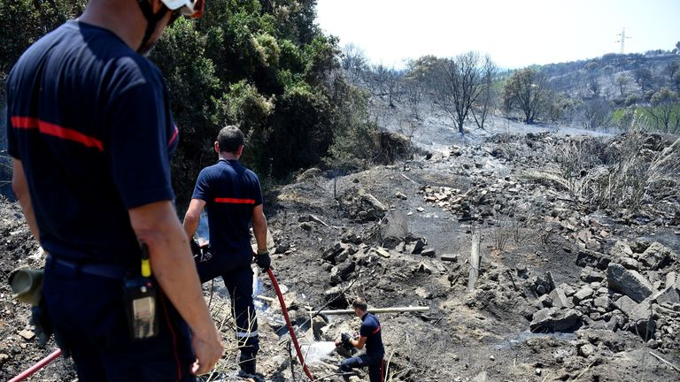 Firefighters battle wildfires in France after temperatures hit 45.9C