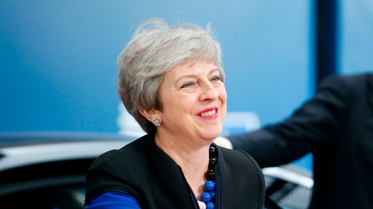 Britain's acting Prime Minister Theresa May arrives for an European Council Summit at The Europa Building in Brussels, on June 20, 2019