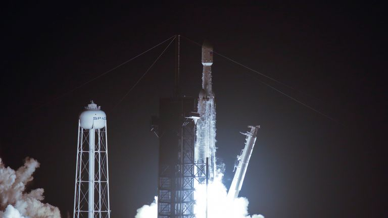 The Falcon Heavy lifted off from NASA's Kennedy Space Center in the early hours of Tuesday morning