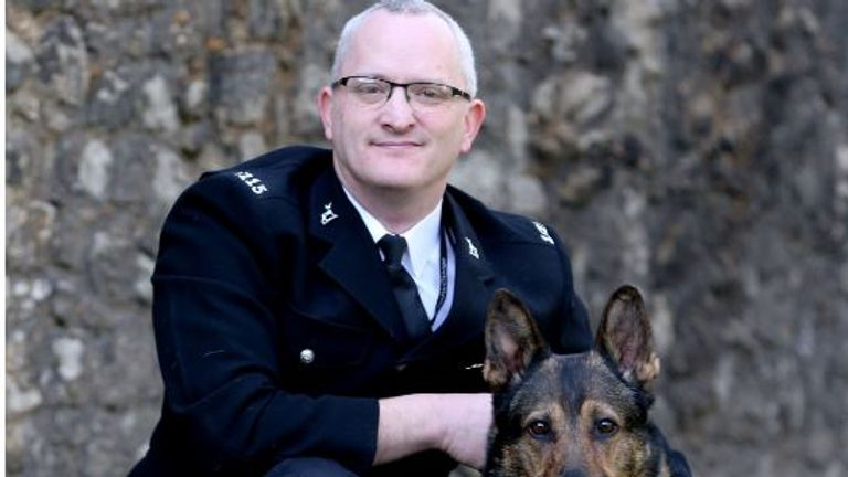 Finn's handler Pc Dave Wardell says the dog saved his life