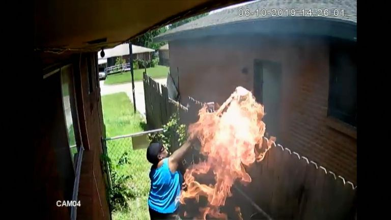 Own security camera catches alleged arsonist
