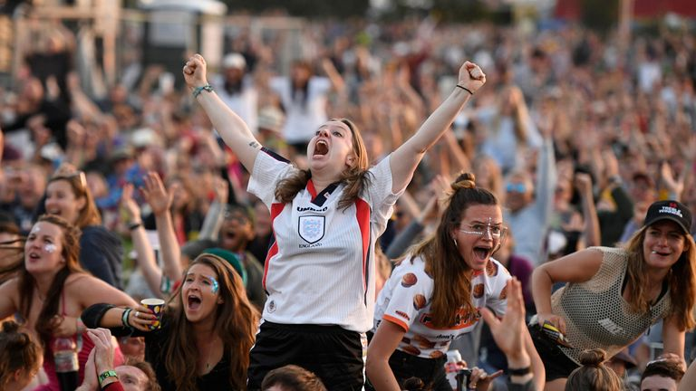 Football fans at Glastonbury watch England's victory over Norway in Women's World Cup