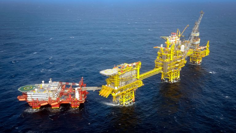 Total Culzean platform is pictured on the North Sea