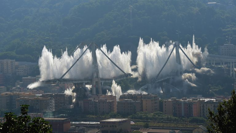 The remains of the collapsed Morandi bridge are blown up in a controlled explosion in Genoa.