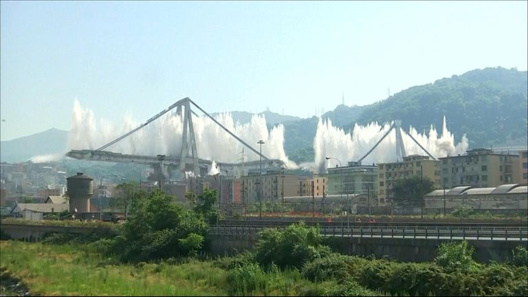 A controlled explosion on the damaged Genoa bridge.